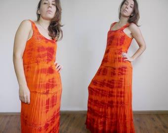 19b9d191807 Orange Red Tie dye Sundress Crinkle Gauze Bohemian Crochet Tank top Maxi  Halter Dress Pleat fabric Lounge Easy fit dress Ethnic Boho spirit