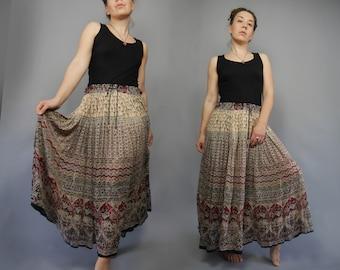 65720b8c90 Extra sheer gauze skirt with indian print and drawstring waist Summer skirt  Cotton fabric Maxi length