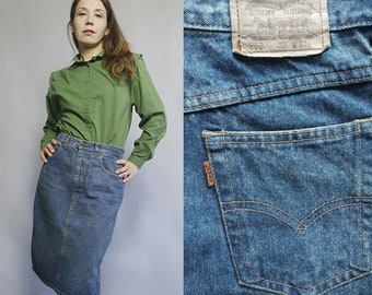 042001f1b79e5 Vintage Levi s Denim Skirt 860 W31 Knee length Orange TAB Denim Pencil  tight up Stitch Jean skirt Dark Wash Back Split