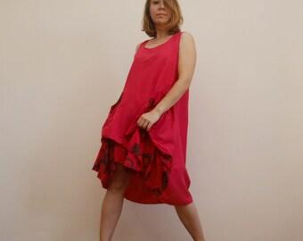 28ed96d8b11 Red Lagenlook dress Loose Cotton Tunic Dress Layered Short dress Asymmetric  Hem Maternity Dress Two Layer Dress Parachute dress Quirky dress