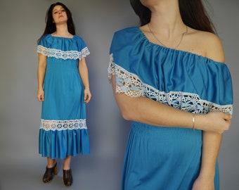 9b8b13e4acd Blue long maxi dress Off The Shoulder Bohemian summer dress Ruffle jersey  dress with lace