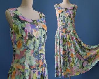 c2bf08a7ada Colorful Summer dress Long Dress Drop waist Sleeveless Buttoned front  sundress
