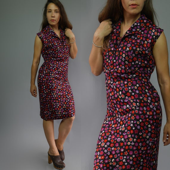 Vintage MOD shift dress with lovely ditsy print •
