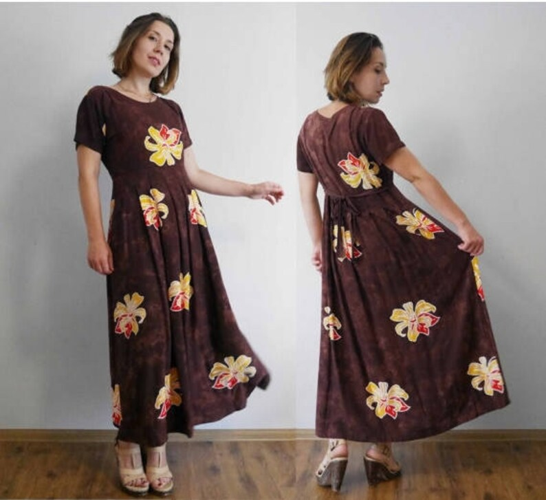 ef94a4c1c50 Mahogany Maxi Dress Lily Print Batik print t Long rayon dress