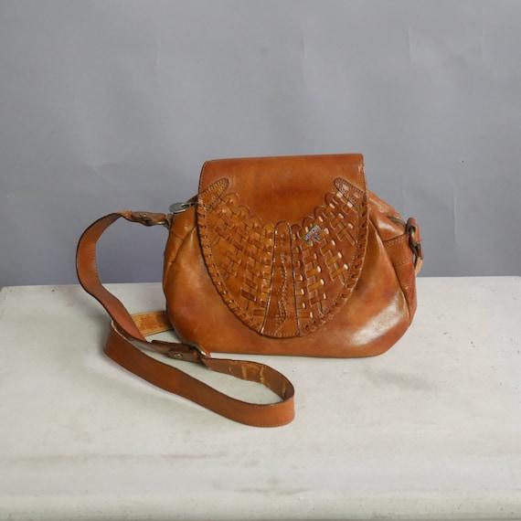 775afd237c Caramel brown braided leather purse handbag shoulders bag