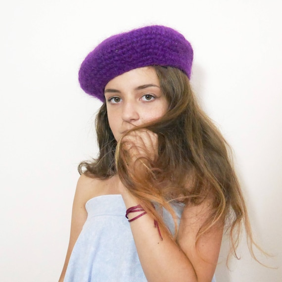 French style women Beret Vintage 60's 70's Purple