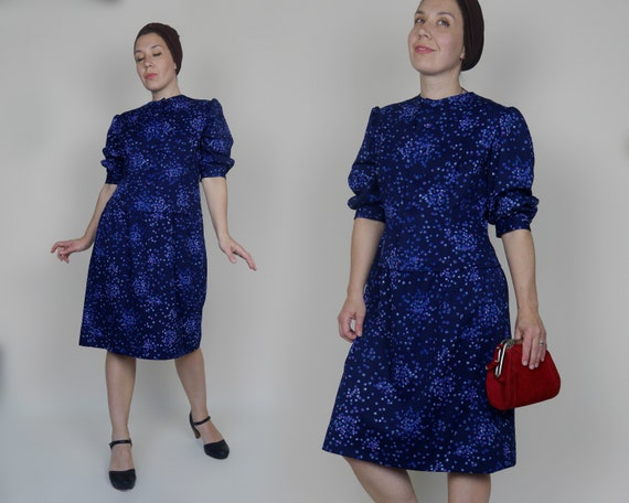 Blue Midi Dress 70s does 40s style Jersey Shirt dr