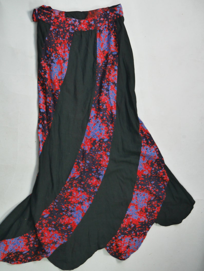 Bohemian dress set Black Purple gauzy dress Frill sleeves Maxi bell skirt Festival MEDIUM