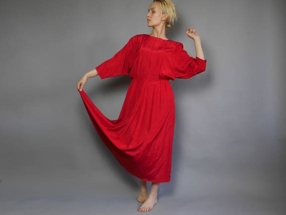 Vintage Red Dress 80s Maxi Long Sleeves Sheen Semi Formal Etsy