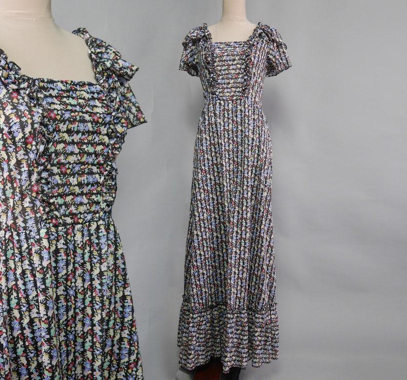 b8eb4f9f93a 70s Boho Hippie Prairie Mottled print Romantic Dress Short