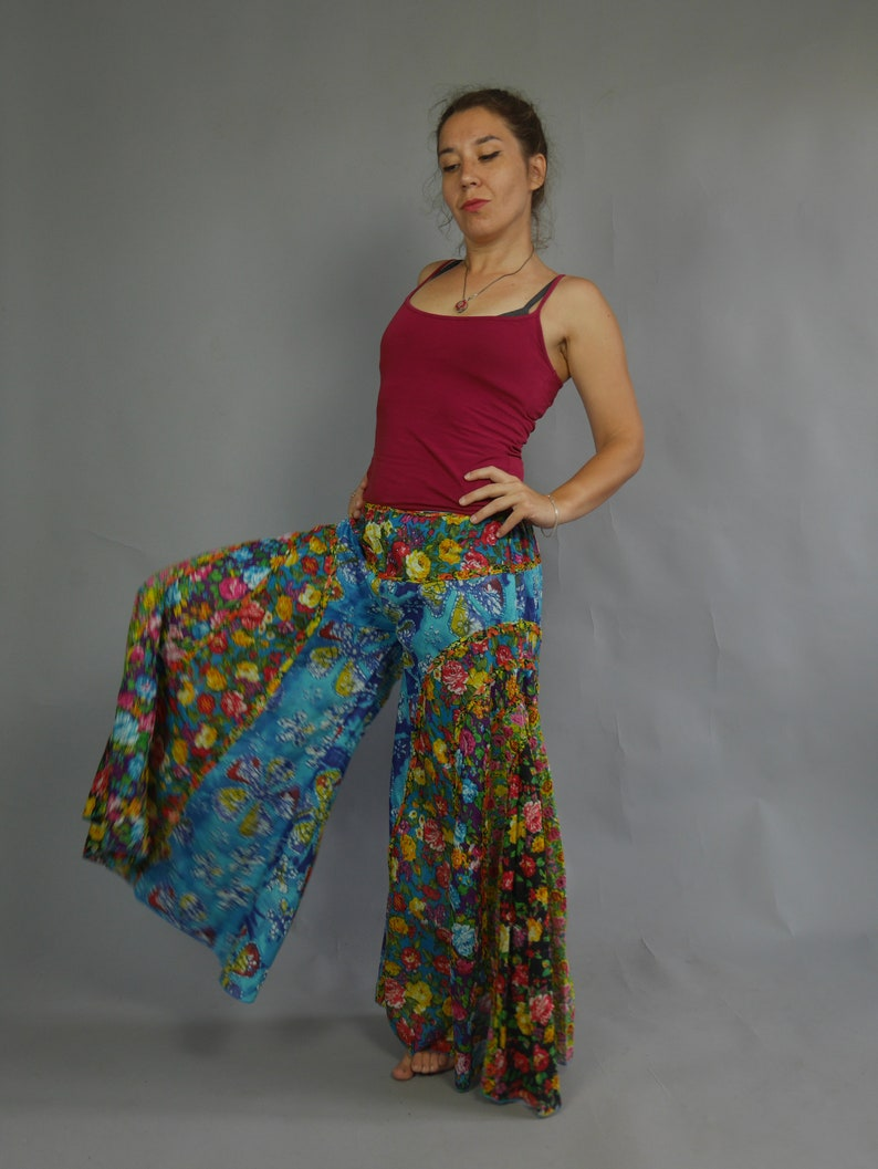 Hippie culottes pants Floral print wide leg pants Full trousers Maxi loose pants