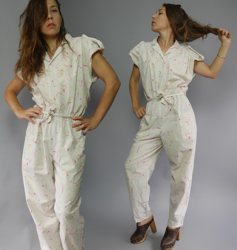 3d82da241de White vintage 80 s cotton jumpsuit with abstract print Short sleeves Street  fashion high waisted jumpsuit