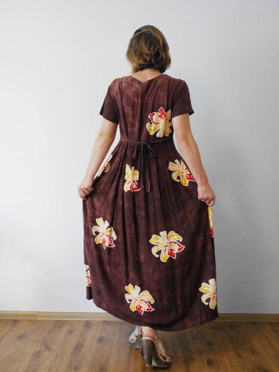 a30f9e624384 Mahogany Maxi Dress Lily Print Batik print High waist Pleated skirt Long  rayon dress Short sleeves Summer dress Vintage 90's Floral
