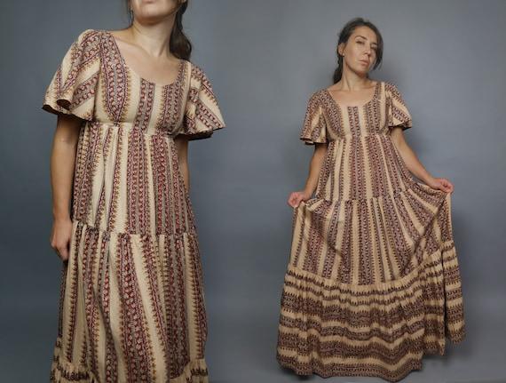 Rare AYESHA DAVAR Vintage 1970s dress Hand blocked