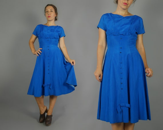 Vintage dress 1950s Blue cocktail party fancy dres