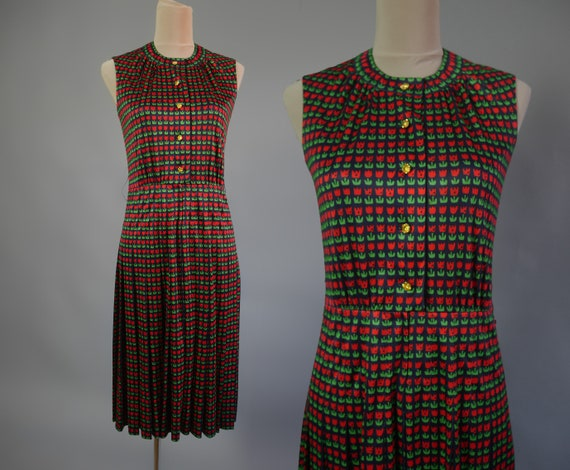 Event vintage dress 70s with lovely tulip print Je