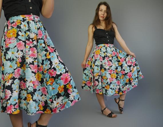 Floral print full skirt 80's Midi bright summer sk