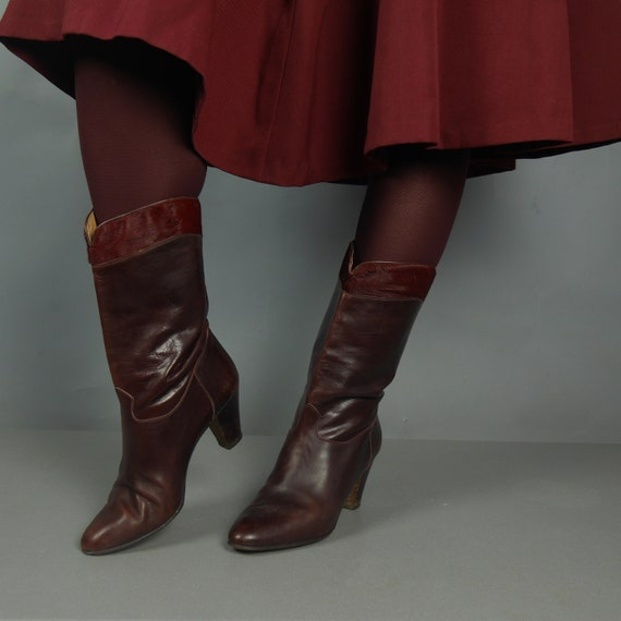 better clearance sale shades of Vintage 80s heels boots Maroon ankle boots Women's Italian leather boots  Size 39,5