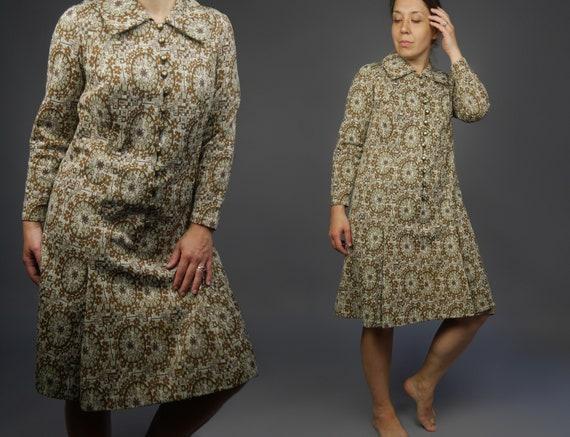 Paisley print Vintage dress 60s Jersey shift dress