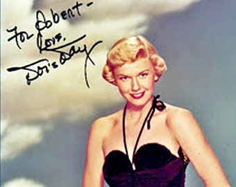 f1c7a890f83 Doris Day - A Presigned 1950's picture of Doris wearing a black Swimsuit -  A great Vintage Pin-Up image - A unique Photo-print.