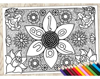 Colouring Page Blodau Flowers Welsh Word Printable Download Adult Coloring Language Wales Art Therapy Calm Relaxing Creative Pattern
