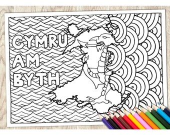 Colouring Page Cymru Am Byth Welsh Word Printable Download Adult Coloring Language Wales Art Therapy Calm Relaxing Creative Pattern