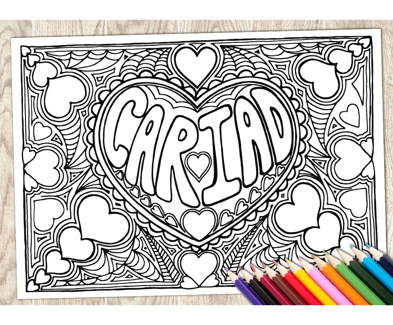 Colorear página Cariad, adulto de la palabra galesa, descargar para ...