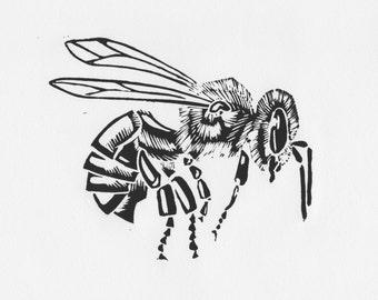 Bee - Lino Cut, Mounted, Original Art, Print, Individually Hand Printed, Bee, Insect, Nature