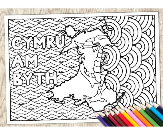 Colorante página Cymru Am Byth palabra galesa descargar   Etsy