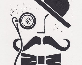 Vintage Chap - Lino Cut, Mounted, Original Art, Print, Individually Hand Printed, Picture, For Him, Moustache, Monocle, Bow Tie, Bowler Hat