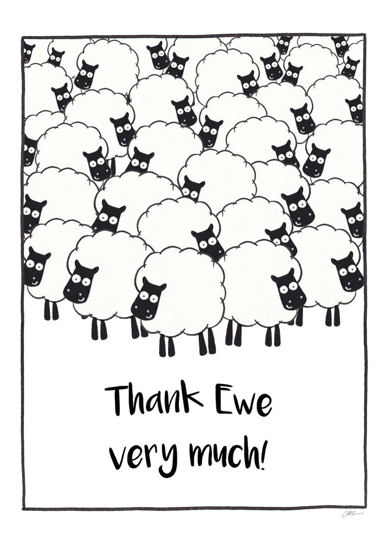 Funny Visual Pun Thank You Greetings Card Thank Ewe Very Much Watercolour Pen Wordplay Sheep Illustration Printable Card
