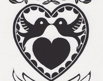 Love Birds - Lino Cut, Mounted, Original Art, Print, Individually Hand Printed, Picture, Wedding, Engagement, Anniversary, Personalised