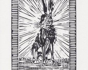 March Hare - Lino Cut, Mounted, Original Art, Print, Individually Hand Printed, Picture, Nature, Animals, Countryside