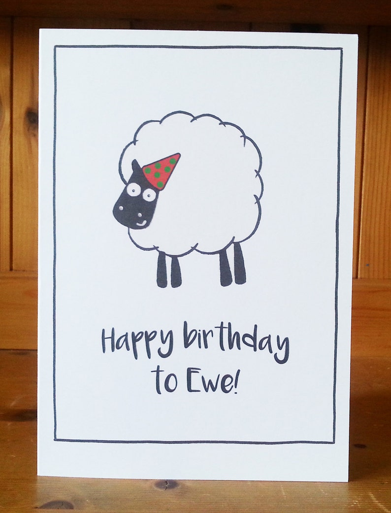 Wordplay Watercolour Pen Birthday Greetings Card Illustration Sheep Funny Visual Pun Printable Happy Birthday To Ewe Instant File