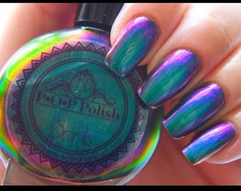 "P•O•P Polish ""Dragon Slick"" Nail Polish Quick Dry with Sifting Oil Slick 360  DuoChrome Mirror MultiChrome"