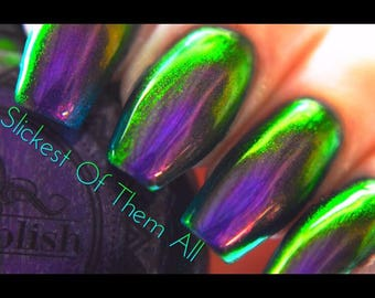 """P•O•P Polish """"The Slickest Of Them All"""" Nail Polish Quick Dry with Sifting Oil Slick 360 DuoChrome Mirror MultiChrome Purple Green Blue"""