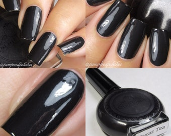P.O.P Polish Nail Polish Texas Tea Black One Coat Lacquer Indie Varnish