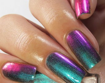 """P•O•P Polish """"Slick Like That"""" Nail Polish Quick Dryt with Sifting Oil Slick 360  DuoChrome Mirror MultiChrome"""
