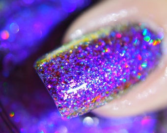 "P•O•P Treasure Chest Collection ""Jeweled Peacock"" Shifting Flakey Glitter Bomb Indie Nail Polish Varnish Lacquer"