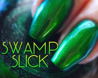 "P•O•P Polish ""Swamp Sick"" Nail Polish Quick Dry with Sifting Oil Slick 360 DuoChrome Mirror MultiChrome Green Lime Moss Dark Military"