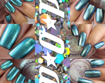 "P•O•P Polish ""Fairy Wings & Feathers"" Nail Polish Quick Dry Glassy Top Coat with Sifting Pigments. Chameleon Glass  DuoChrome Mirror MultiCh"