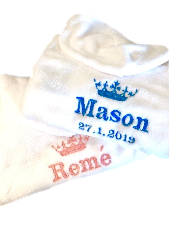 Personalised Baby Robe Bath Embroidered Dressing Gown Boy Girl Gift Crown Soft