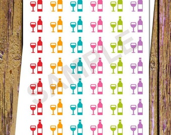 42 Wine Stickers Drinks Night Planner Stickers Party Stickers Functional Stickers Icon Stickers Planning Stickers Rainbow Stickers A42