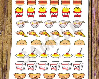 46 Kawaii Food Planner Stickers Pizza Stickers Functional stickers Food Stickers Taco Pasta Fries Burger Lunch Dinner Planning Stickers S10