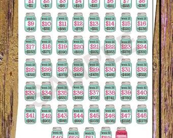 52 Week Savings Challenge Planner Stickers Savings Stickers Mason Jar Stickers Money Stickers Savings Tracker Stickers Fits ANY Planner A53