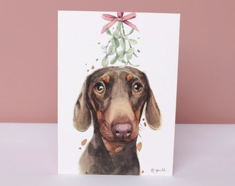 Dachshund Christmas Cards, Cute Doxie Sausage Weiner Dog Art Xmas Holiday Greeting Card