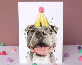 Staffordshire Bull Terrier Dog Pompom Staffie Birthday Card