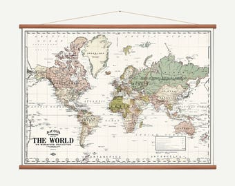 Roll Down World Map.Roll Down Map Etsy