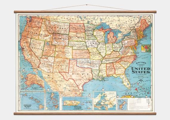 Pull-Down Wall Map - USA - Amerika