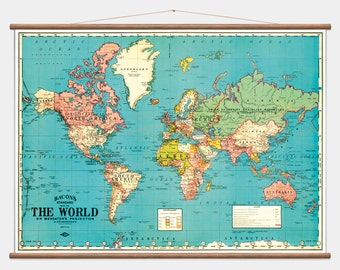 """Pull Down Wall Map - The World - 40""""x53"""""""